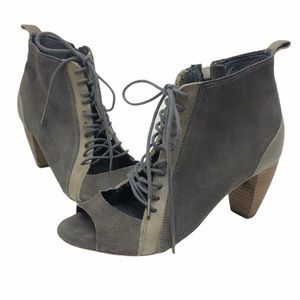 All Saints Leather Peep Toe Lace Up Booties